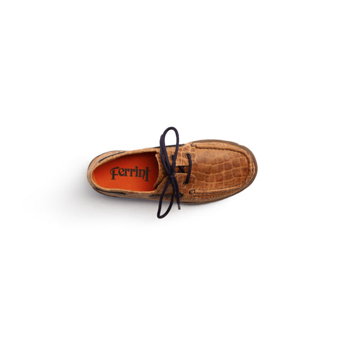 Comfortable Brown Leather Loafer with Navy Laces | Ferrini USA
