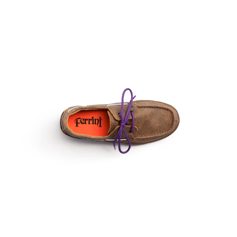 Comfortable Distressed Leather Loafer with Purple Laces - Ferrini USA