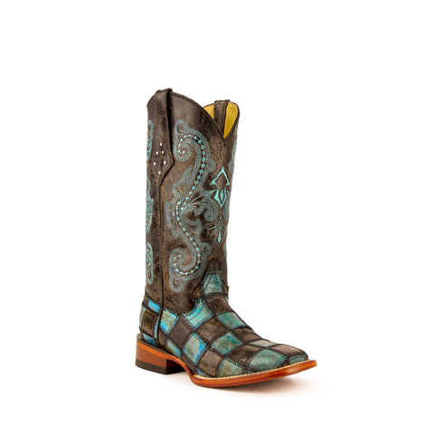 """Patchwork"" Distressed Leather Womens Fashion Western Boot 