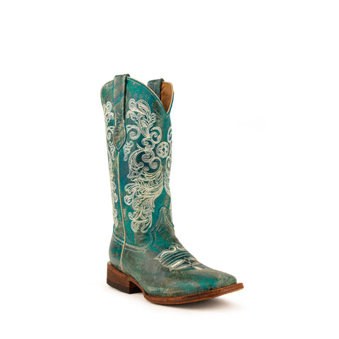 """Southern Charm"" Ladies Turquoise Leather Square Toe Boots 