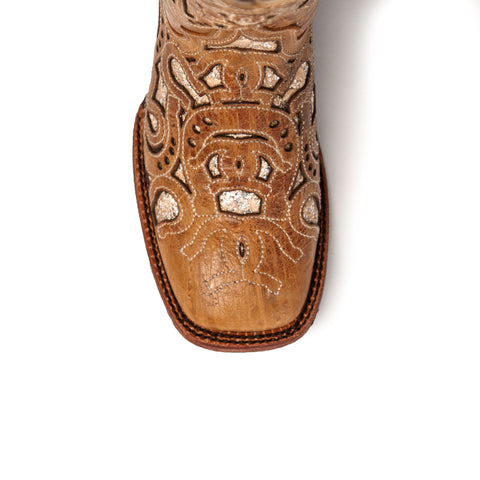 Horseshoe: Distressed Leather Cream Cowboy Boot - Ferrini Boots