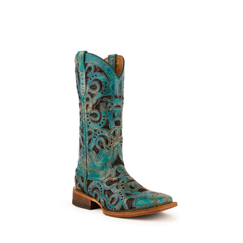 Horseshoe: Distressed Leather Turquoise Cowboy Boot - Ferrini USA