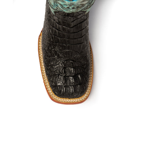 """Stampede"" Women's Crocodile Print Teal Leather Boot 