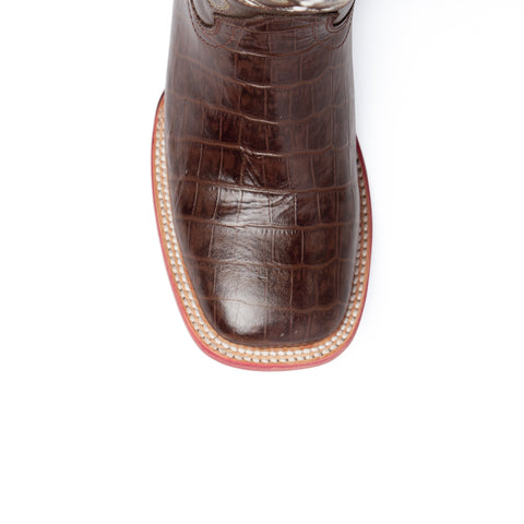 """Mustang"" Handcrafted Leather Alligator Print Western Boots 