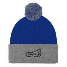 Load image into Gallery viewer, Black On-On Embroidered Foot Pom Pom Knit Beanie Cap