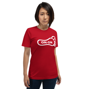 Red Hash Foot On-On Logo Unisex Short-Sleeve T-Shirt - (Personalization available if contacted prior to order)