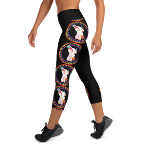 Wandering Whore H3 - Black Yoga Capri Leggings with Small Waist Band Inside Pocket