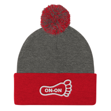 Load image into Gallery viewer, White On-On Foot Embroidered Pom Pom Knit Beanie Cap