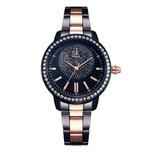 DESIRE BLACK ROSE GOLD DIAMOND BRACELET WATCH