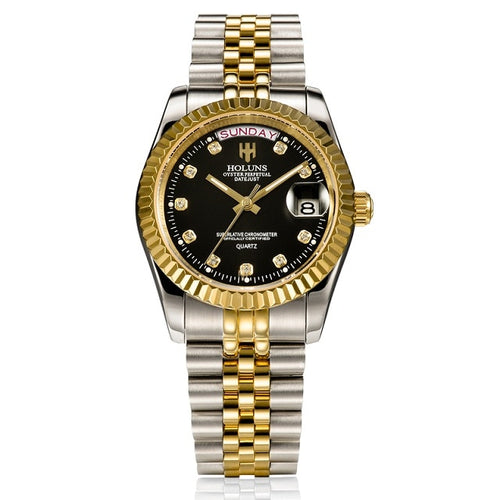 Brand Luxury Men Gold Quartz Diamond
