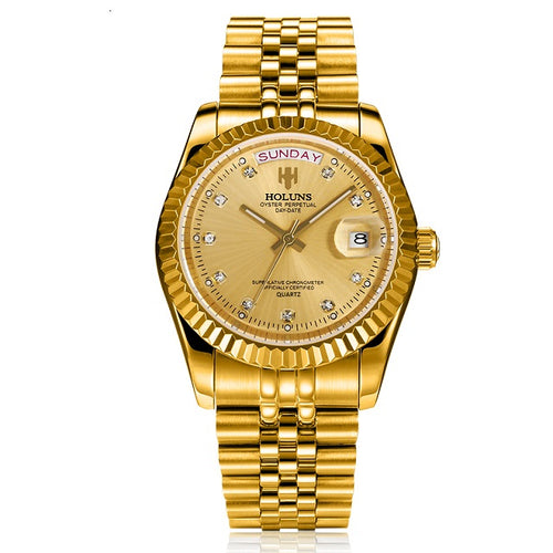 Brand Luxury Men Gold Quartz Diamond - Millennial Watches