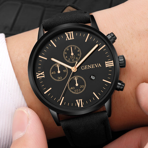 Geneva Leather Analog Quartz