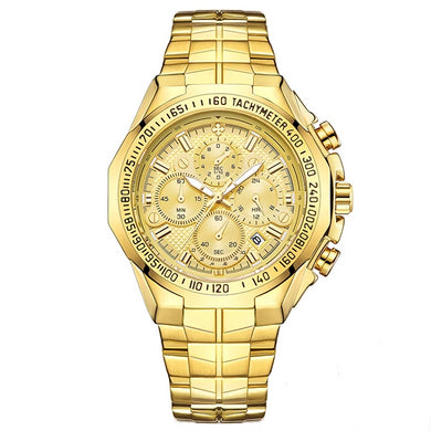 Golden Chronograph Men Watch