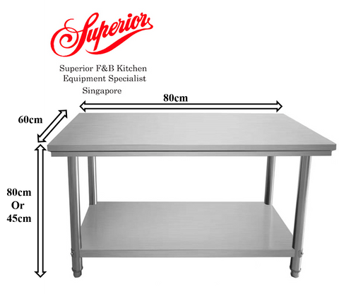 2 Tier Stainless Steel Table (80cm Variant)