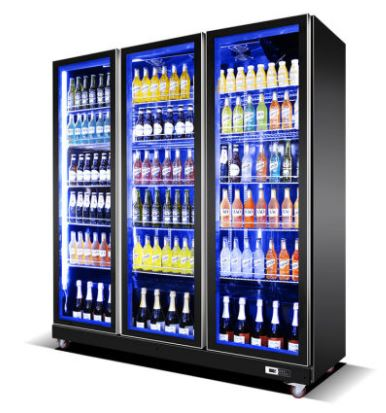 3 Door Black Glass Chiller Display