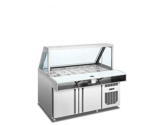 Counter Chiller with Glass Display  with Topping hole / Sneezeguard / Chopping board