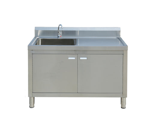 Single Sink with Right Worktop with Open Cabinet