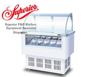Ice Cream Glass Display Freezer White
