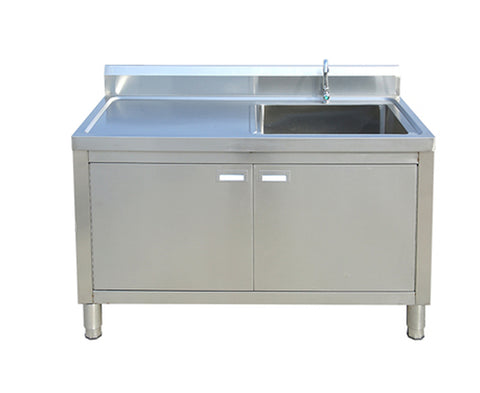 Single Sink with Left Worktop With Open Cabinet