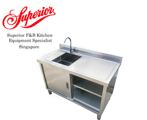 Stainless Steel Sink with Sliding Cabinet
