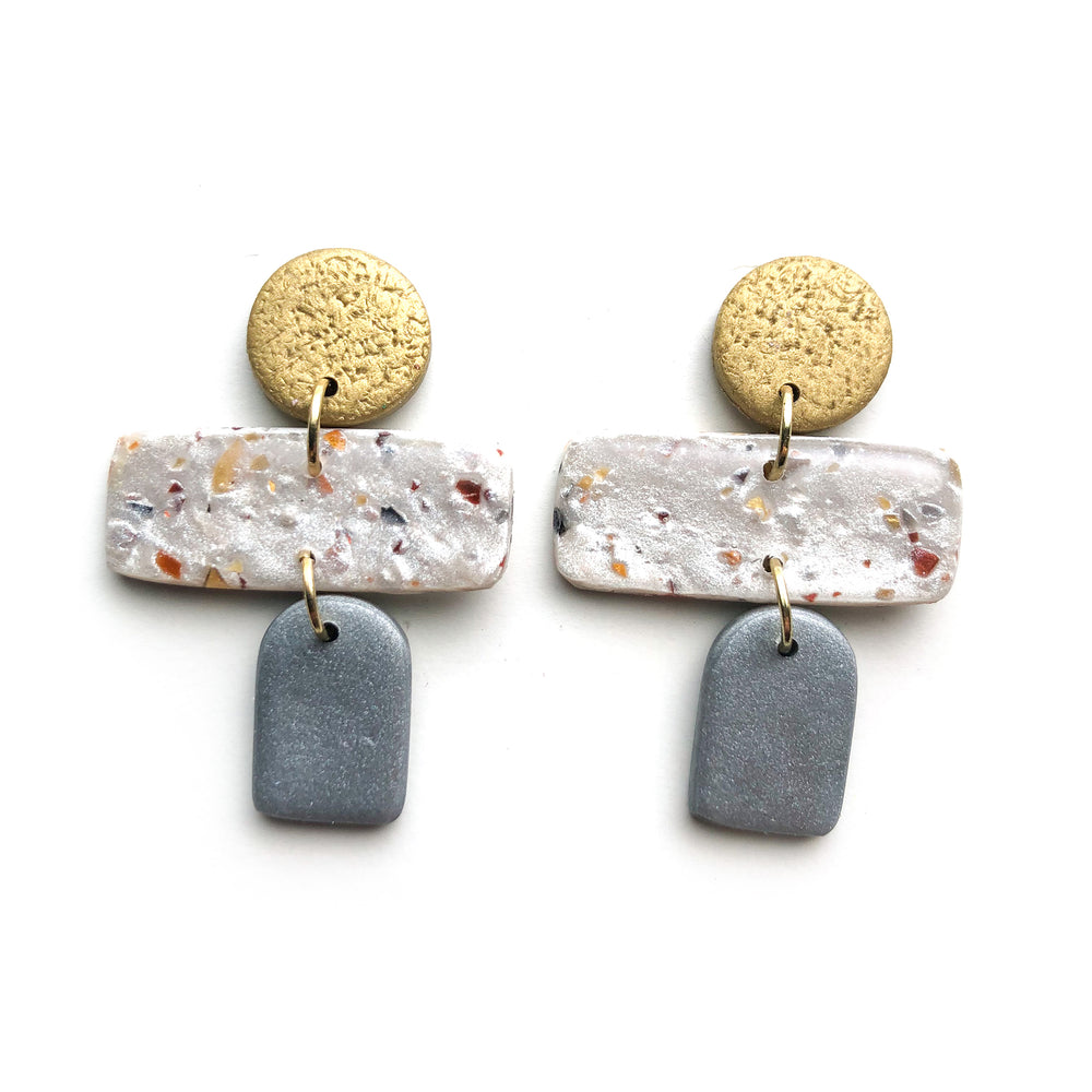 Mixed Metal Scrap Multi Shape Drop Earrings
