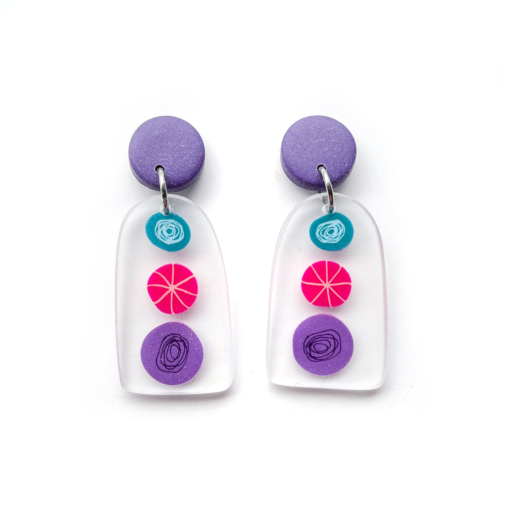 Load image into Gallery viewer, Preserved Rock Candy MATTE Arch Earrings
