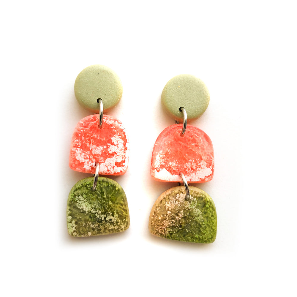 Peach Matcha Efflorescence Multi Shape Drop Earrings