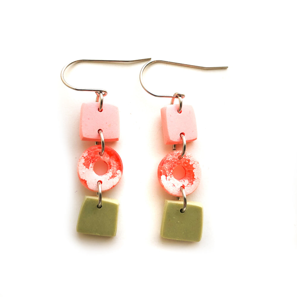 Peach Matcha Efflorescence Multi Shape Hook Earrings