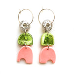 Peach Matcha Efflorescence Multi Shape Hoop Earrings
