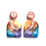 Peacock Efflorescence MATTE Large Arch Drop Earrings