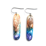 Peacock Efflorescence MATTE Handcut Hook Earrings