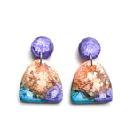 Peacock Efflorescence GLOSS Half Oval Drop Earrings