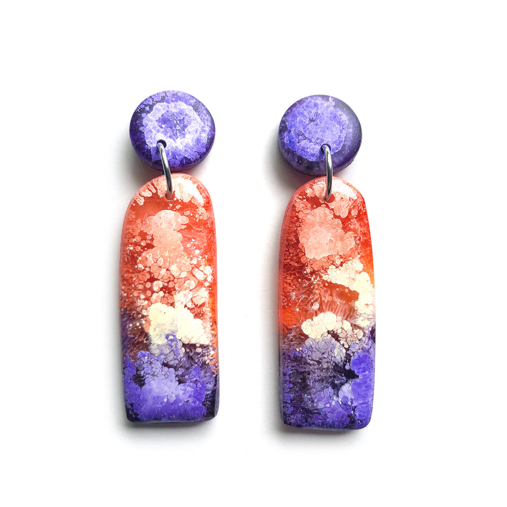 Peacock Efflorescence GLOSS Handcut Arch Drop Earrings