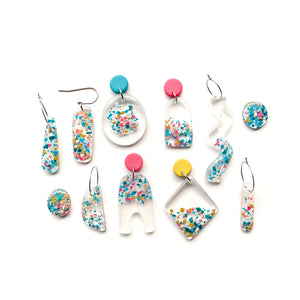 Load image into Gallery viewer, Trapped Fragments GLOSS Handcut Hook Earrings