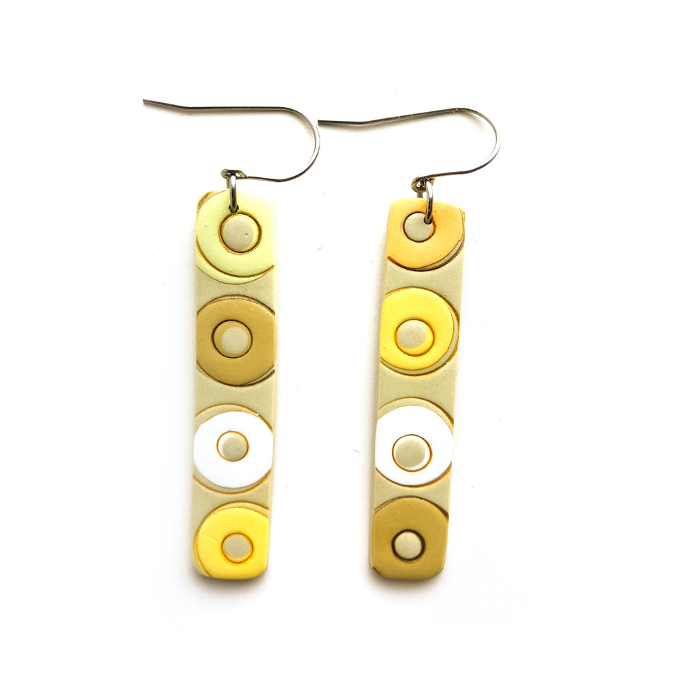 Yellow Circles Large Rectangle Hook Earrings