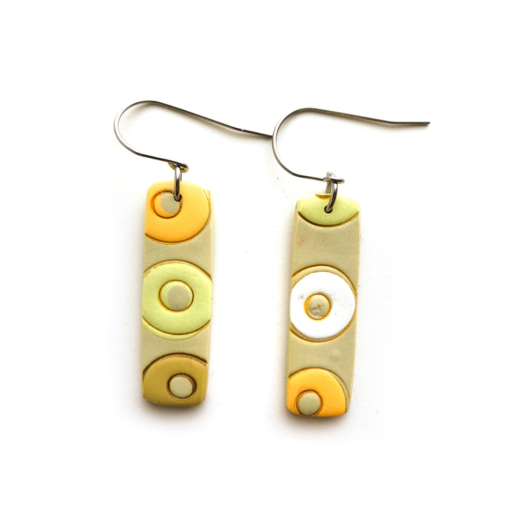 Yellow Circles Small Rectangle Hook Earrings