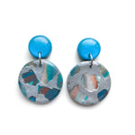 Teal Terrazzo Small Circle Drop Earrings