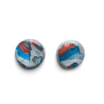 Teal Terrazzo Mega Circle Stud Earrings