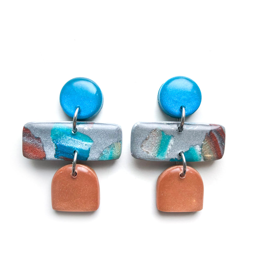 Teal Terrazzo Multi Drop Earrings
