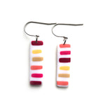 Pink Dots & Dashes Rectangle Hook Earrings