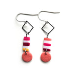 Pink Dots & Dashes Multi Shape Hook Earrings