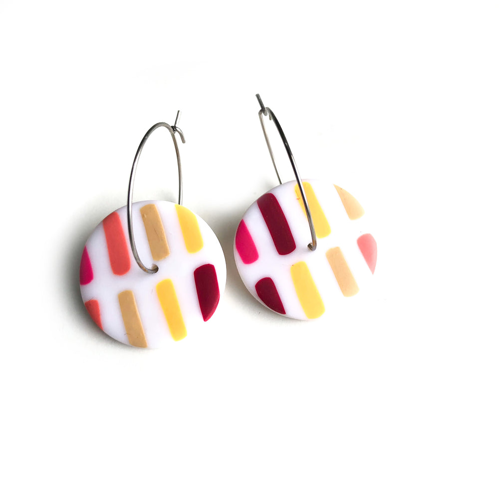 Pink Dots & Dashes Circle Hoop Earrings