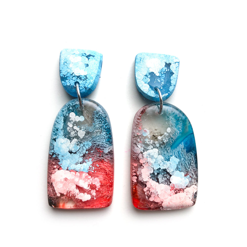 Ocean Lava Efflorescence GLOSS Organic Arch Drop Earrings