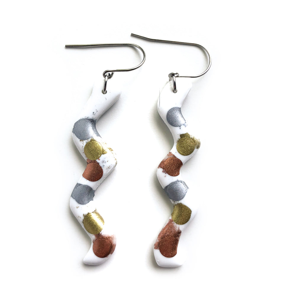 Painted Alloys White GLOSS Squiggle Hook Earrings