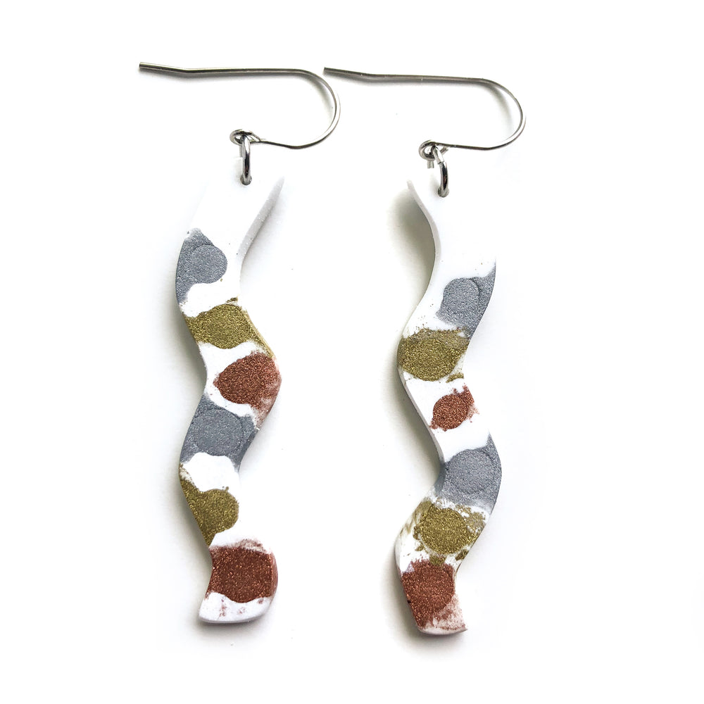 Painted Alloys White MATTE Squiggle Hook Earrings