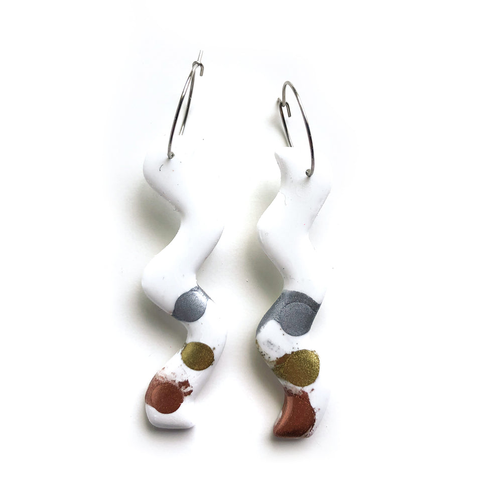Painted Alloys White GLOSS Squiggle Hoop Earrings 02