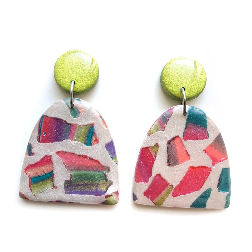 Rainbow Terrazzo Large Half Oval Drop Earrings