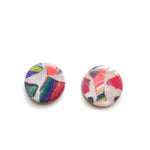 Rainbow Terrazzo Mega Circle Stud Earrings