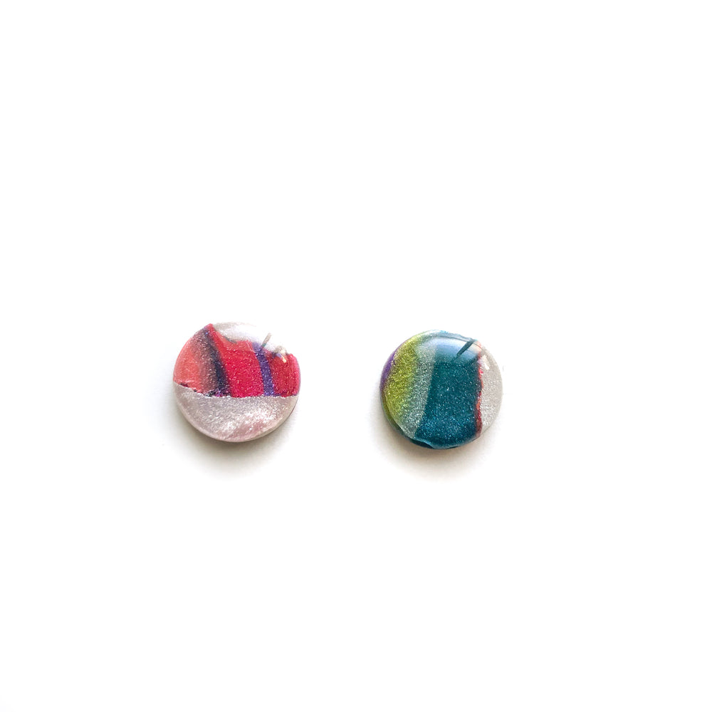 Rainbow Terrazzo Mini Circle Stud Earrings