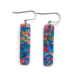 Rainbow Scraps Rectangle Hook Earrings